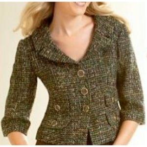 Ann Taylor Loft Petites Green Tweed Blazer Jacket